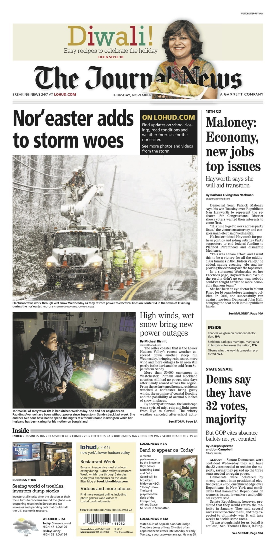 A1 on 11/8/12: Nor'easter adds to storm woes  Maloney: Economy, new jobs top issues  Dems say they have 32 votes, majority
