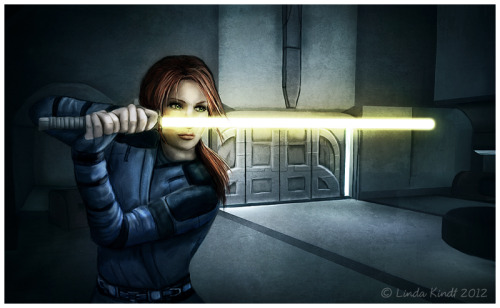 A quick portrait of my fem!Revan, Kathira Khan, Scoundrel/Jedi Sentinel from Star Wars: Knights of the Old Republic