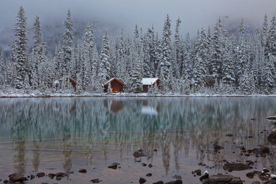 valscrapbook:  Rustic Cabins of Lake O'Hara Lodge in Snow by Lee Rentz on Flickr.