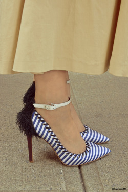 © Fabrizzio Morales-Angulo Street Style detail. White and blue striped heels with fringe detail. New York , September/2012