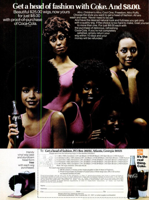 WAIT, WHAT? THIS WAS AN ACTUAL THING? COCA-COLA AFRO WIGS…?