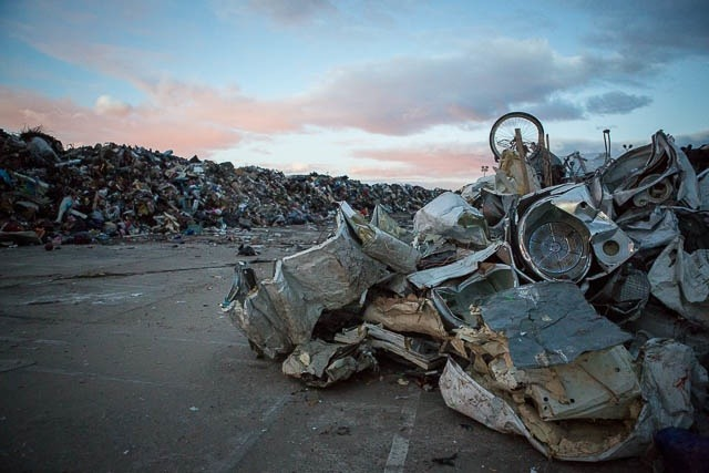 post-hurricane Rockaway Beach parking lot trash piles - photo by Tod Seelie