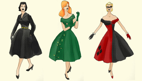 fashiontipsfromcomicstrips:  Gotham Noir: Harley Quinn, Poison Ivy, & Catwoman print, by artofegle. Since I'm a sucker for dresses and retro silhouettes, it's no wonder why I love these redesigns of the Gotham City Sirens. However, I feel like a green wiggle dress (à la Joan Holloway) would've better suited Pamela Isley.