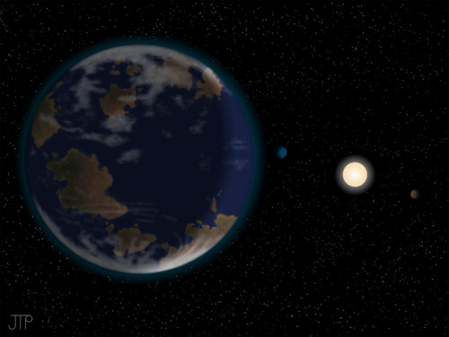 "flavorcountry:  discoverynews:  did we just find a habitable super-Earth?! Yup! Super-Earth Discovered in Star's Habitable Zone  ""All we know at this point is that it has a minimum mass of about 7.1 Earth-masses. We have no explicit follow-up planned, thought the HARPS team is probably still gathering more data, and may in the future be able to confirm these results, and perhaps add even more planets to the brood,"" astronomer Steven Vogt, with the University of California's Lick Observatory, wrote in an email to Discovery News. Based on our experience with other star systems this newly discovered planet is likely made of rock and may contain water. It receives 62 percent of the radiation from its star that Earth receives from the sun, but Earth is relatively near to the leading edge of the habitable zone.  check it out…  Wait. Gravity stronger than Earth's, receiving dim light from its sun? If spectral analysis reveals this planet to have an atmosphere that would lead to its inhabitants seeing a red sky instead of blue and astronomers fail to name it Krypton immediately, there's going to be a riot on the internet."