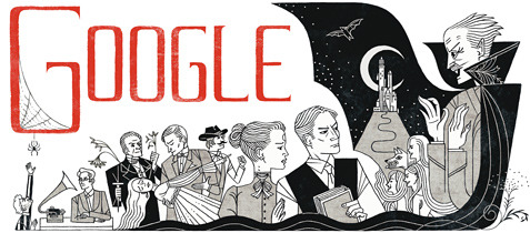 thelifeguardlibrarian:  Happy 165th birthday, Bram Stoker!  Lovely Google Doodle today!