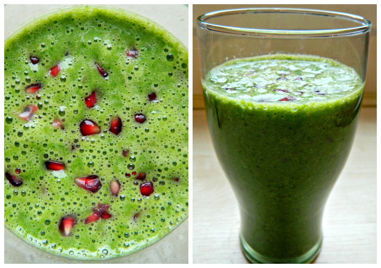 Breakfast smoothie made with spinach, banana, red grapes, cinnamon and soy milk topped with pomegranate seeds.