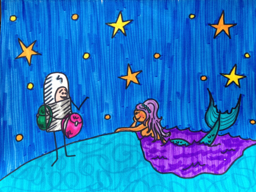 Captain Spaceman asks Pretty Neptunian Mermaid to go on an adventure with him.