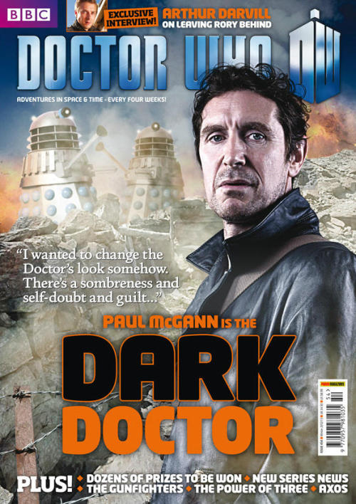 limerent-inventor:   Okay, here's the real cover of DWM 454 – as sent to the printers last week, and on sale from Thursday 15 November. Tom Spilsbury (x)  Cruel.  Oooh, the bridge between the Eighth and Ninth Doctor: the Time War, guilt-ridden, genocide-causing Eighth Doctor, short hair and leather coat in tow (is this to say that the Ninth Doctor actually didn't change his look after his regeneration?). I got a feeling that this will be my first DWM issue in a long while…