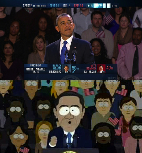 popculturebrain:  'South Park' Replicated Obama's Victory Speech, Right Down To The Flag Hair Lady | Warming Glow