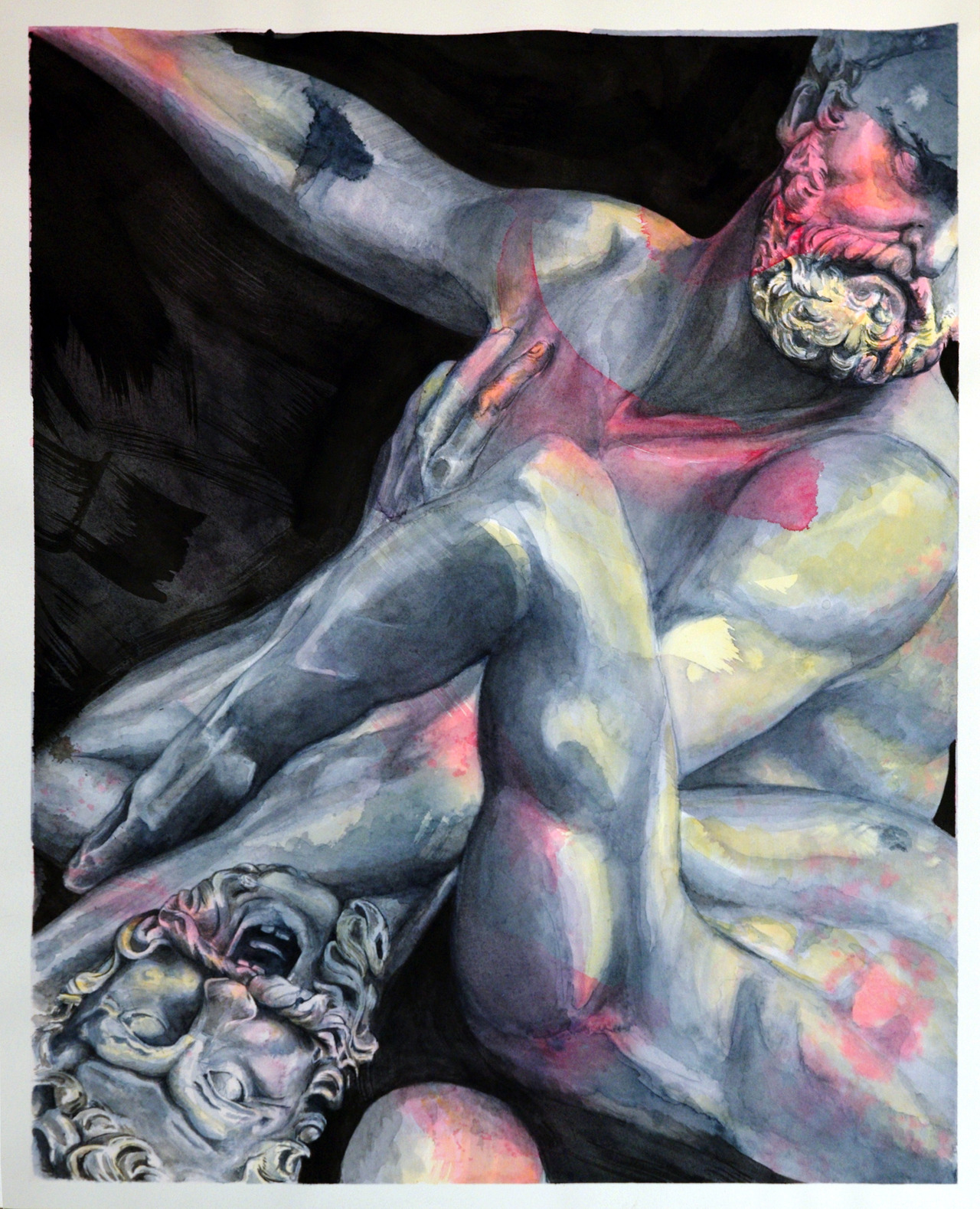 "HERCULES & NESSUS 2012 Watercolor & India Ink 18' x 24'  In Greek mythology, it is the shirt (chiton) daubed with the tainted blood of the centaur Nessus that Deianeira, Hercules' wife, naïvely gave Hercules, burning him, and driving him to throw himself onto a funeral pyre. Metaphorically, it represents ""a source of misfortune from which there is no escape; a fatal present; anything that wounds the susceptibilities""or a ""destructive or expiatory force or influence"""