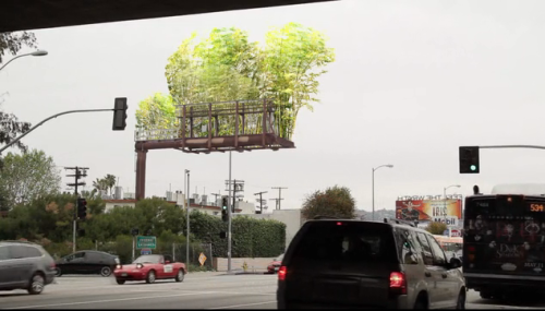 "good:  Urban Air: Los Angeles Artist Transforms Billboards Into Floating Gardens - Liz Dwyer Imagine sitting in traffic during your daily commute and instead of seeing the clutter of countless billboard advertisements you see gardens floating in the sky. That's the kind of green experience Los Angeles-based artist Stephen Glassman wants us to have as we travel through our urban landscape. His Urban Air project hopes to transform the steel and wood frames that hold billboard advertising into suspended bamboo gardens. Glassman's been creating large-scale bamboo installations across Los Angeles since the aftermath of the 1992 Los Angeles Riots. He came up with Urban Air because—like many of us who live in congested cities—he saw a need for more fresh, green space, and a greater connection to humanity. The idea won the 2011 London International Creativity Award and proved so inspiring that Summit Media, a billboard company based in Los Angeles actually offered to donate billboards along major streets and freeways. As you can see in the video above, to create the garden billboards, Glassman and his team simply remove the commercial facade and modify the existing structure by installing planters, filling them with live bamboo, hooking up a water misting system and connecting them to a wifi network that monitors the environment. Then, says Glassman, ""when people are stuck in traffic"" on the 10 Freeway instead of seeing advertisements, they ""look up and they see an open space of fresh air."" The project's hoping to raise $100,000 through Kickstarter to structurally retrofit the first prototype billboard, secure licenses, permits, and insurance, and pay for cranes to help install everything. They hope to spread the idea across the globe so they're also producing ""a system 'kit' that enables any standard billboard to be easily transformed to a green, linked, urban forest."" While it can be argued that that's a hefty sum for just one billboard and a toolkit, seeing a beautiful garden suspended in air sure beats having to look at another advertisement, right?"