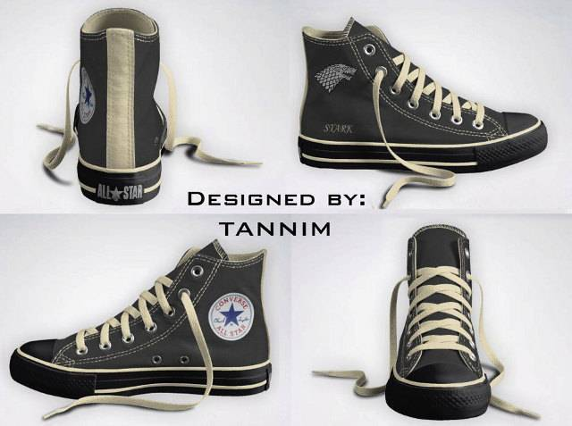 Game of Thrones Chuck Taylor's?!?! These do not appear to be real, but one can dream right?  Check out the full house set (not to be confused with Full House) over at TCMAG.com.