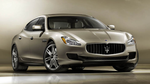 "This is the 2013 Maserati Quattroporte  Say ciao to the all-new Maserati Quattroporte - the lightest, biggest, and most powerful four-door Maz in the history of, erm, ever… Mazzer's playing its cards close to its chest, but we do know that the all-new V8 engine's been designed and developed by Maserati and Ferrari engineers in Italy's motor valley. And while you'd associate the products of Maranello to err on the thirsty side, this one's meant to be more efficient and more powerful than the current car. Maserati won't tell us much about its leathery innards, either, but Lorenzo Ramaciotti, Head of the Maserati Design Centre, says: ""Inside, the Quattroporte aims at essentiality, stressing the simplicity of lines and the full functionality of the on-board instrumentation. Functional elements are blended with soft quality surfaces made of prestigious woods and refined leathers.""  Read more about the new Mazz at TopGear.com."