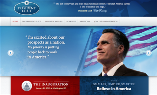Whoops! Romney's 'transition' website spotted by blogger (Photo via Political Wire) Before the election, Mitt Romney's staff prepared a transition website, in case the former Republican nominee was elected president of the United States. And even though Romney didn't win the election, the site saw the light of day — for a few moments anyway. Read the complete story.