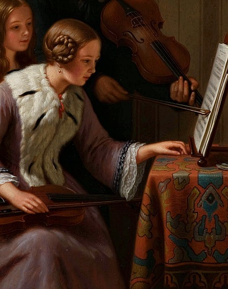 Basile de Loose The Music Lesson, detail 19th century