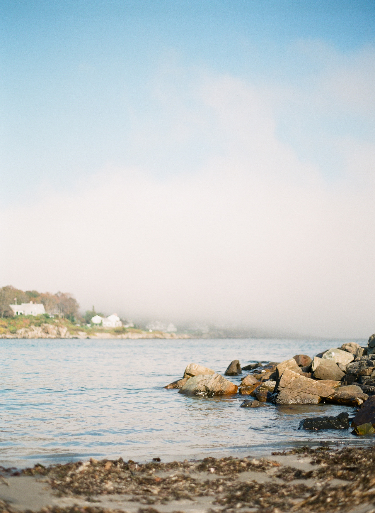 The fog rolling into York Harbor, Maine. Contax 645 | Fuji 400h | RPL
