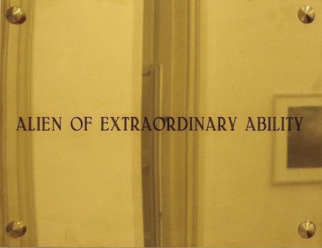 Latifa Echakhch 0-1 VISA (alien of extraordinary ability) 2005 Engraved brass plate  21.5 x 27.9 cm