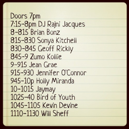 kevinpdevine:  Set times for tonight's ApK benefit for the Red Cross at the Knitting Factory in Brooklyn. Tix & info at kevindevine.net - thank you!