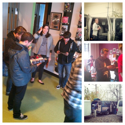 The Swellers and Pentimento dropped by the AP offices today to hang out, eat candy, film a couple episodes of Stand By Your Van and do some magic tricks. Check out our staff snapshots!