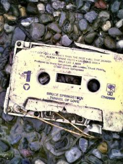 Bruce Springsteen tape found in the wreckage of a home in New Jersey after Hurricane Sandy. Photo by Caitlin Corrigan via Project Rebuild and Recover Assist in Hurricane Sandy Relief's Facebook Page - check out the link to see how you can help New Jersey.