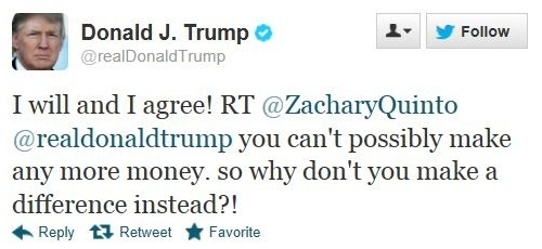 Donald Trump replies to Zach´s tweet. I wonder if he really knows who he is… :)