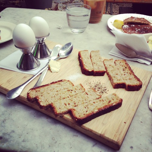 Soft-boiled eggs with toast. Troost.