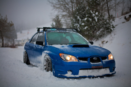 scoobsti:  thejdmfantasy:  Winter is no match for a STI   A stanced STI, at that.