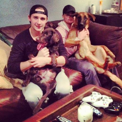 Ryan Spooner and his puppy Carll, and Jared Knight & his puppy Tyson. (Source: @AHLBruins, via @RSpooner2376)