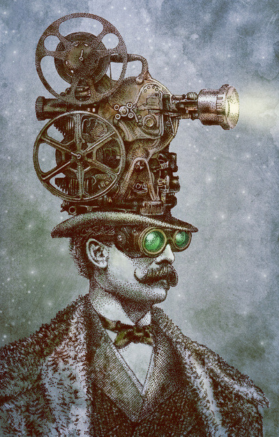 The Projectionist (colour option) by Eric Fan http://society6.com/opifan64/The-Projectionist-colour-option_Print