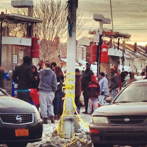 tedr:  roelofbotha:  watching people line up for gas in NYC makes me feel as though I have been teleported to another time or place… (at Gulf Gas Station)  tedr: another time? future or past  both