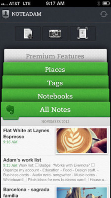 subnav on Evernote