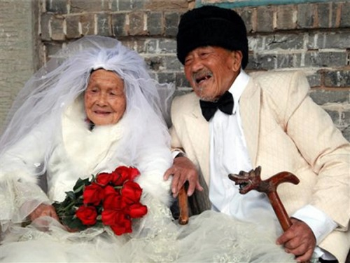 Their wedding photos are ready – after only 88 years (Photo: TODAY) Eighty-eight years after getting married, a Chinese couple have finally gotten their wedding photos taken — and they're still smiling. Cameras were scarce in China in 1924, when Wu Conghan, 101, and wife Wu Sognshi, 103, tied the knot, so they have no photos from their big day. But nearly nine decades later, they re-created the happiness of the event. Read the complete story.