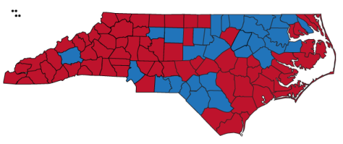 Mitt Romney won 51 percent of the vote in North Carolina on Tuesday, but lost other key swing states to Barack Obama.  While counties like Mecklenburg and Wilkes were blowouts for Obama and Romney respectively, many of the state's counties saw much closer races. For example Romney won Dare County by only 26 votes. Click here to explore an interactive that shows how North Carolina's 100 counties voted.
