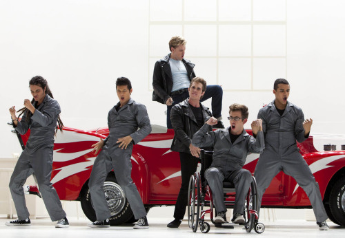 "GLEE: The boys perform in the ""Glease"" episode of GLEE airing Thursday, Nov. 15 (9:00-10:00 PM ET/PT) on FOX. L-R: Samuel Larsen, Harry Shum Jr., Chord Overstreet, Blake Jenner, Kevin McHale, and Jacob Artist. ©2012 Fox Broadcasting Co. CR: Adam Rose/FOX"