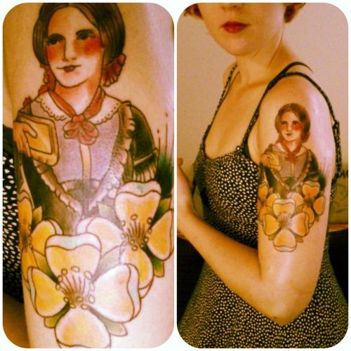 My Charlotte Bronte tattoo. I got it done at Kustom Thrills by Brandon Henderson in Nashville, TN. More pics later!