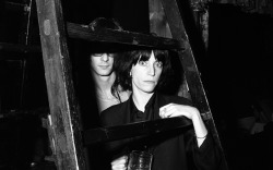 superseventies:  Patti Smith with Lenny Kaye at CBGB's, New York City, April 1975.