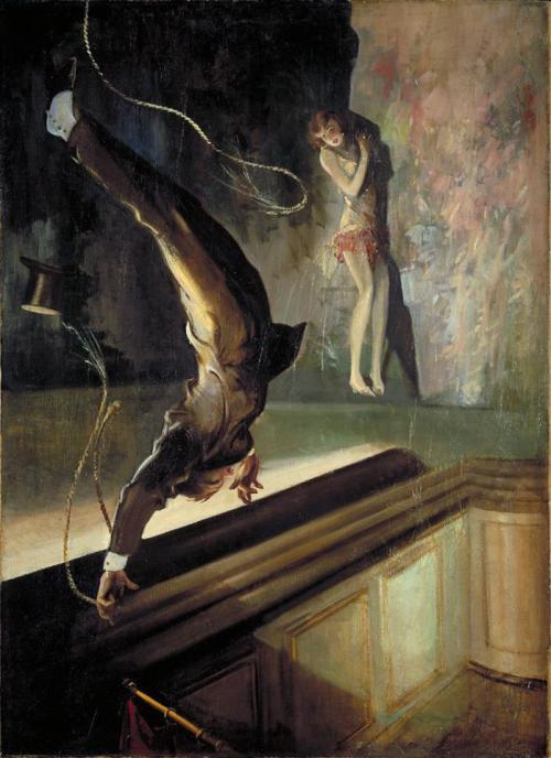 Everett Shinn - Acrobat Falling (1930) via ahomeforbirds  Everett Shinn (November 6, 1876 – May 1, 1953) was an American realist painter and member of the Ashcan School, also known as 'the Eight.' He was the youngest member of the group of modernist painters who explored the depiction of real life. He is most famous for his numerous paintings of New York and the theater and of various aspects of luxury and modern life inspired by his home in New York City.