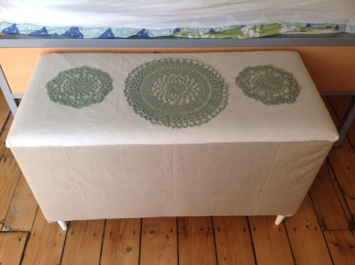 A blanket box I bought from a charity shop and covered. Made the doilies sewn on the top. It's made me very happy!