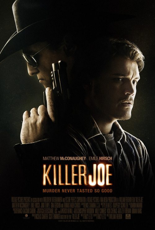 #120 Killer Joe (2012) Dir. WIlliam Friedkin  This is the kind of movie we need to see more of. A pitch-black slice of sleaze-noir from William Friedkin. This is his second collaboration with playwright Tracy Letts following the massively underrated nightmare that is Bug. While not as claustrophobic as that movie it's equally shocking and funny in all the same forbidden places. The cast are all dirtied up and used to full effect by each playing against type and leaving their vanity at the door. Killer Joe aint afraid to go too far and when it does, you might find it hard to digest at first but you'll be grateful for it in the end. Friedkin has knocked it out of the park yet again with a film that has more guts and urgency to it than those made by most filmmakers half his age. Fantastic!