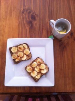 Breakfast: 2 slices of burgen rye bread with whipped PB, sliced banana and a sprinkle of cinnamon. I also had a mango :)