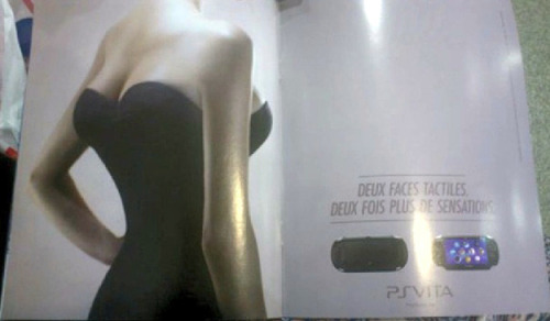 "French PS ad compares the Vita to a woman with four tits. Sold! The copy translates as ""Touch both sides. Twice the sensation."" Via"