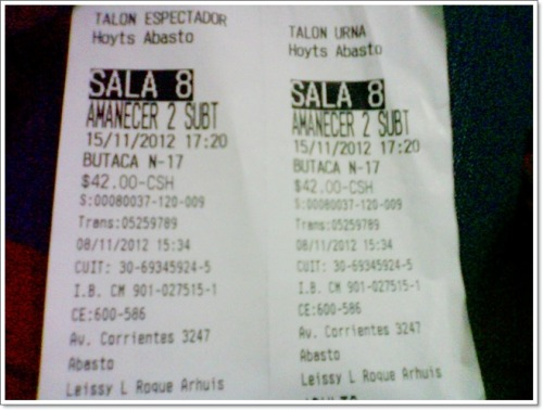 My ticket for Breaking Dawn Part II ♥ » November 15, 2012