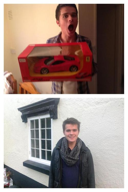 tomandrewssupporters:  Tom Andrews Birthday with his Ferrari from Ruxandra and his Snoodi scarf from Hannah (Me) :)