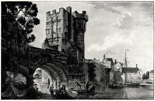 Welsh bridge at Shrewsbury.  Paul Sandby, from The graphic arts of Great Britain, by Malcolm C. Salaman & Charles Holme, London, Paris, New York, 1917.  (Source: archive.org)