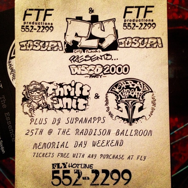 Another old show flyer.  Not sure, prolly ca. '93, '94.. lol, #FLY parties was the shit back then around here.  They were doing fashion shows and parties with underground hip hop groups. FLY cats went on to become #frank51. #tbt #verbalthreatva #oldschool #flyparties #stidakfaks #757 #throwback