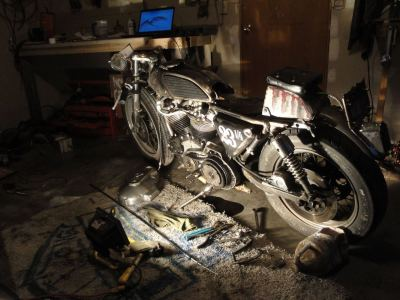 Seth Green Tangen's garage build. This is how I work on bikes too, flood light and all. Haha.