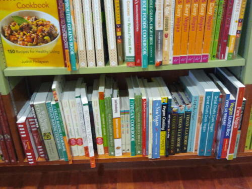 Vegan cook books in the Japanese book shop in Sydney