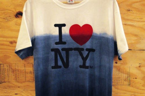 "GENIUS. Blue Ombre dyeing of the iconic Milton Glaser ""I Love NY"" shirt to represent the damage that the Frankenstorm caused to many of our local neighborhoods. Pick one up at Grey Area"