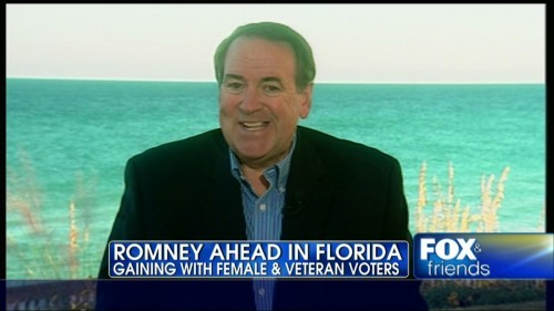 """Barring something major, [Romney] is going to win Florida for four reasons,"" began Huckabee. The first of which, he explained, was ""a huge shift in this state in women voters,"" pointing to a 19-point swing. He also characterized Florida as a big military state for both active and retired military persons, a demographic that has shown ""incredibly strong support"" for Romney. Huckabee felt that seniors were shifting the polls as well, because ""they know $716 billion was cut from medicare in Obamacare — not by Romney."" And finally, Huckabee described how an organization called Secure America Now might be swaying Florida's Jewish voters. (source)"