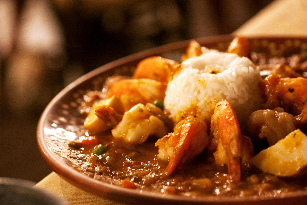 f-word:  tequila shrimp with rice and potatoes in tomato bean sauce photo by bionicgrrrl